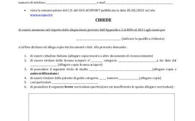 Modulo di Domanda per ammissione ad esami di Commissario e Segreteria